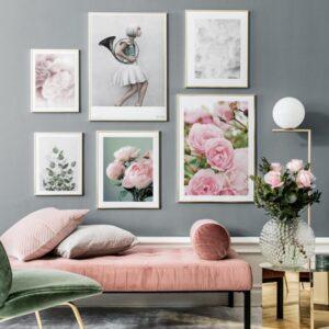 تابلو ست 6 تایی گل های صورتی 1029