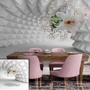 تونل سه بعدی با گل های سفید شیپوری 3D-C306