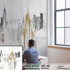 نقاشی سیاه قلم ساختمان مشکی و طلایی ART-A9