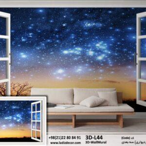 پنجره سه بعدی با منظره آسمان شب 3D-L44