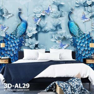 پوستر دیواری سه بعدی طاووس و گل با رنگ آبی برگ و پروانه