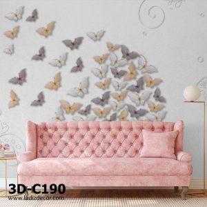 پوستر سه بعدی پروانه ها در زمینه طوسی ساده