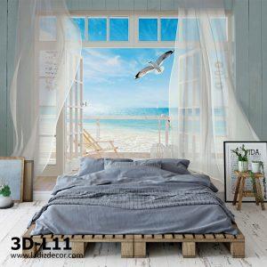 پوستر پنجره سه بعدی به سمت دریا با مرغ دریایی