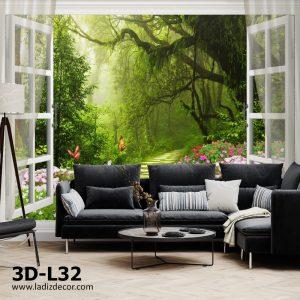 پوستر پنجره سه بعدی عمق دار در جنگل با گل و پروانه