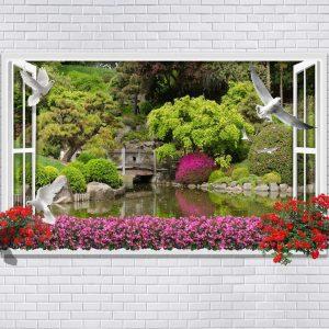 پوستر پنجره سه بعدی با دیوار و منظره دریاچه با گل و کبوتر