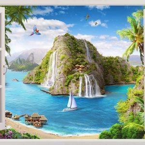 پوستر پنجره سه بعدی با منظره دریا و کوه همراه با کشتی و ساحل