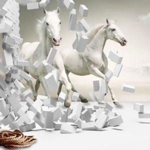پوستر عمق دار سه بعدی با اسب و دیوار آجری شکسته