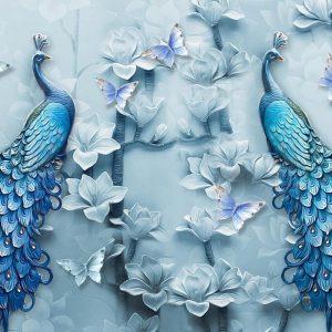 پوستر سه بعدی طاووس و گل با رنگ آبی