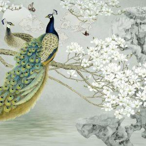 پوستر دیواری سه بعدی نقاشی طاووس با درخت و شکوفه
