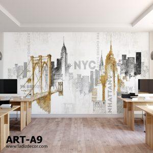 پوستر طرح اسکچ مشکی و طلایی از برج های نیویورک