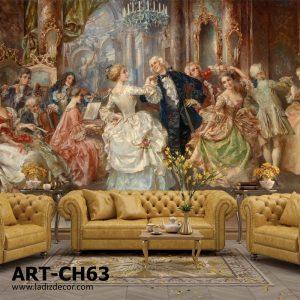 پوستر نقاشی اروپایی رنگ روغن مراسم رقص