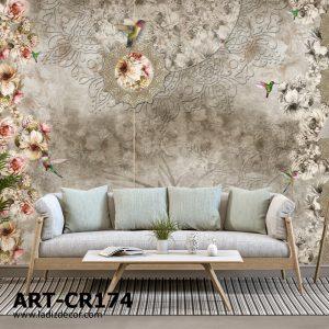 پوستر گل های ریز رنگی و کرم طوسی روی زمینه پتینه