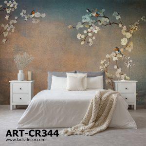 پوستر شکوفه های سفید و پرندگان روی زمینه پتینه