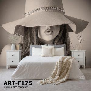 پوستر چهره زن زیبا کلاه دار با تم کرم قهوه ای