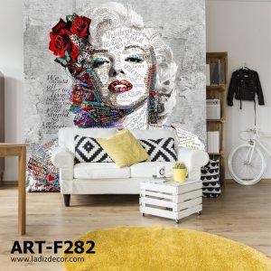 پوستر تصویر نقاشی شده از مرلین مونرو با تم طوسی قرمز