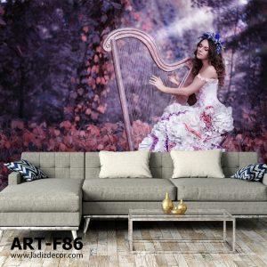 پوستر تصویر زن در حال نواختن چنگ در جنگل پاییزی