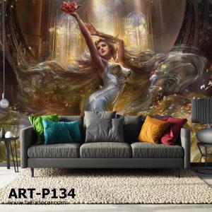 پوستر نقاشی دختر زیبا با موی بلند و لباس سفید پیچیده در باد