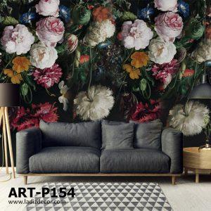 پوستر نقاشی گل های رنگی آویزان روی زمینه مشکی