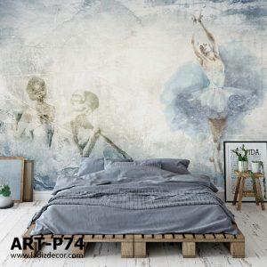 پوستر نقاشی محو شده از رقاص باله روی زمینه پتینه آبی طوسی