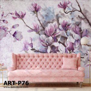 پوستر نقاشی گل های مگنولیا صورتی و بنفش روی زمینه پتینه