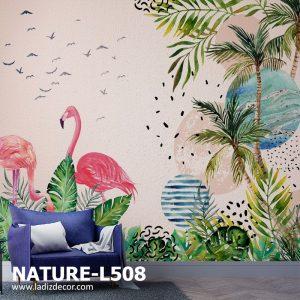 پوستر نقاشی فلامینگوهای صورتی در جنگل استوایی با زمینه پتینه