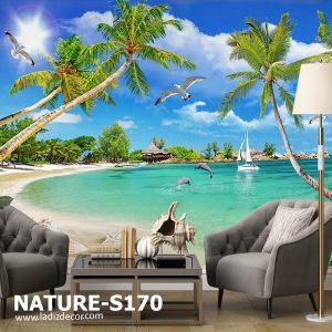 پوستر منظره طبیعی دریا و جنگل