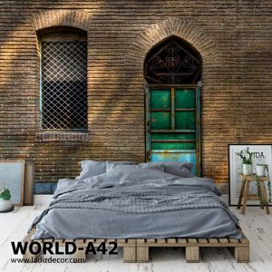 پوستر دیوار آجری سنتی ایرانی با درب و پنجره آهنی