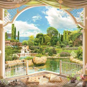 پوستر پوستر ایوان کلاسیک با منظره باغ سرسبز و دریا و آسمان
