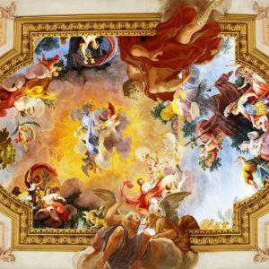 پوستر نقاشی سقفی اروپایی طرح فرشته با گچبری طلایی