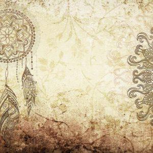 پوستر طرح ماندالا و دریم کچر روی زمینه پتینه کرم
