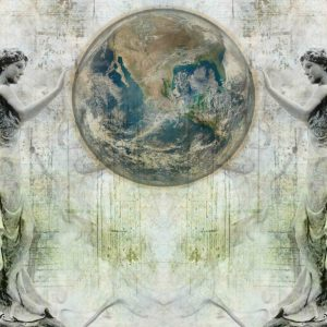 پوستر کره زمین و فرشته های نگهبان روی زمینه پتینه