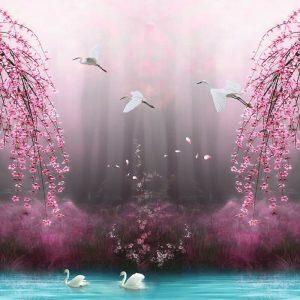 پوستر نقاشی جنگل مه گرفته با درختان و شکوفه های صورتی