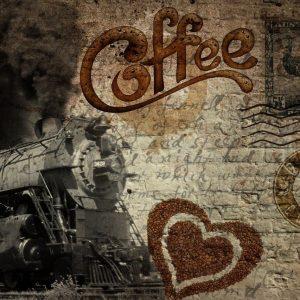 پوستر قطار قدیمی و دانه های قهوه روی دیوار کهنه