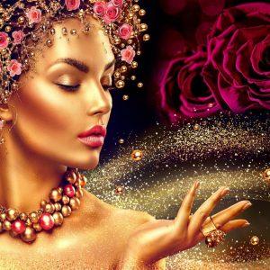 پوستر تصویر زن با چهره طلایی و گل های قرمز