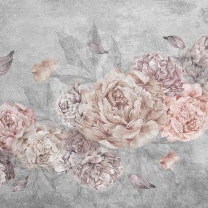 پوستر گل های بنفش صورتی یاسی درشت روی زمینه پتینه