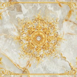 پوستر ابزار سقفی طلایی با زمینه سنگ مرمر کرم روشن
