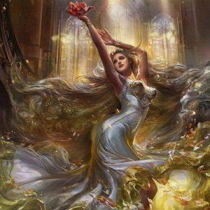 پوستر پوستر نقاشی دختر زیبا با موی بلند و لباس سفید پیچیده در باد