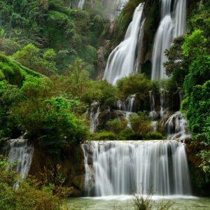 پوستر آبشار زیبای بلند در بین درختان سرسبز جنگلی