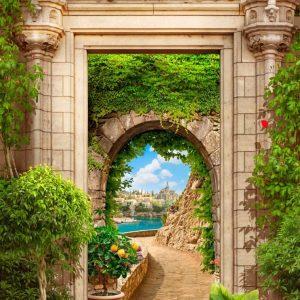 پوستر طاق سنگی در باغ پر گل با منظره دریا و شهر قدیمی