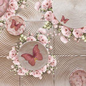 پوستر طرح پروانه و گل ها صورتی روی تایل های سیمانی