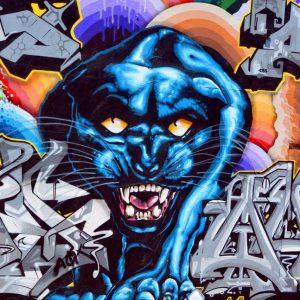 پوستر تصویر گرافیتی دیواری از جگوار مشکی