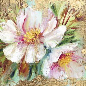 پوستر نقاشی گل های درشت صورتی و سبز روی زمینه کاهگلی