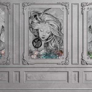 پوستر دیوار طوسی با قاب گچبری و نقاشی چهره زن