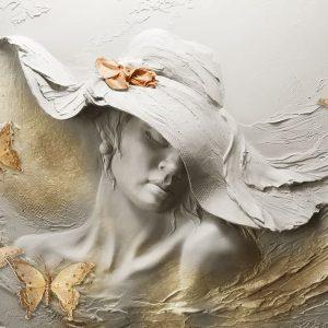 پوستر گچبری مجسمه چهره زن کلاهدار