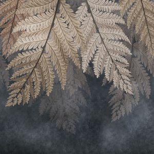 پوستر برگ های بزرگ کرم قهوه ای روی زمینه پتینه سورمه ای