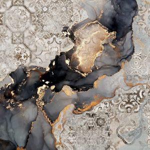 پوستر رگه های مرمر مشکی و طلایی با زمینه طرح کاشی کرم طوسی