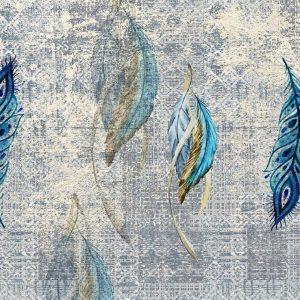 پوستر پرهای آبی نقاشی شده با زمینه پتینه