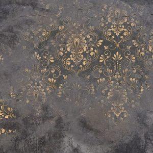 پوستر طرح شمسه طلایی با زمینه پتینه طوسی و مشکی