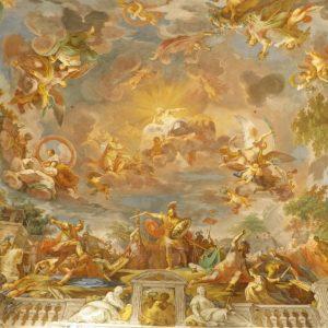 پوستر نقاشی سقفی کلیسایی با طرح فرشته و آسمان