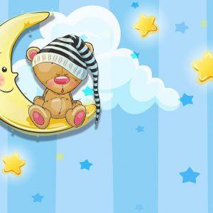 پوستر دیواری کودک و نوزاد انیمیشن آسمان ابر ستاره ماه خرس